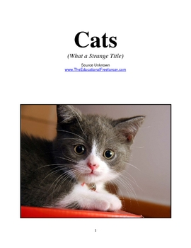 CATS--What a Strange Title:  How to Teach Categorizing-Paragraphing