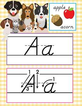 CATS and DOGS - Alphabet Cards, Handwriting, D'Nealian, ABC cards with pictures