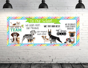 CATS and DOGS theme - Classroom Decor: LARGE BANNER, In Our School - horizontal
