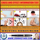 CAUSE AND EFFECT INFORMATION TEXT TASK CARDS