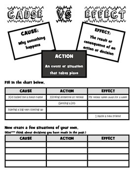 CAUSE & EFFECT WORKSHEET