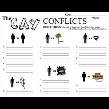 CAY Conflict Graphic Organizer - 6 Types of Conflict