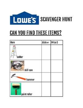 CBI Lowe's Scavenger Hunt by Jodi Roberts   Teachers Pay