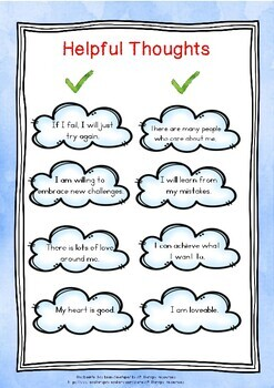 CBT Growth Mindset Thought Cards & Activity -Helpful/Unhelpful/Positive/Negative