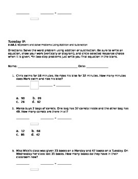 CC 2.OA.1 Word Problems WS