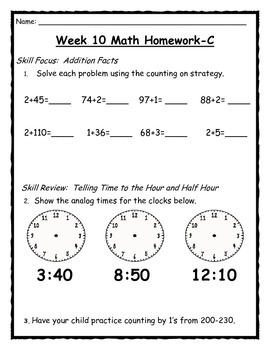CC 2nd quarter differentiated math homework