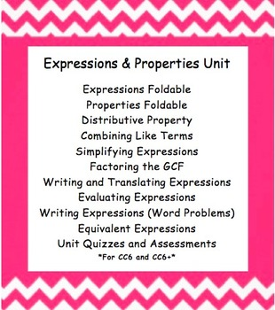 CC 6th Grade Math Unit BUNDLE: Expressions and Properties (Distributive)
