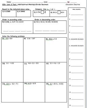 CC 6th Grade Math Unit BUNDLE: Decimal Operations