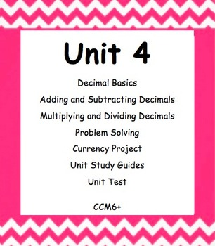 CC 6th Grade Math Unit BUNDLE: Decimal Operations