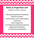 CC 6th Math (Advanced) Unit BUNDLE: Ratio, Proportion, Percent & Measurement