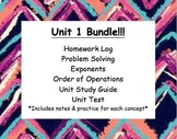 CC 6th grade math Unit BUNDLE: Problem Solving, Exponents & Order of Operation
