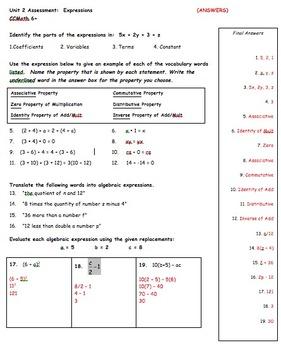 CC 6th grade Math Unit BUNDLE: Algebraic Expressions & Properties of Real Num.