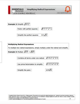 CC.9-12.N.RN.2, HSA.REI.A.2 Simplifying Radical Expressions