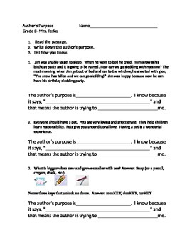 CC Aligned Author's Purpose and Text Evidence