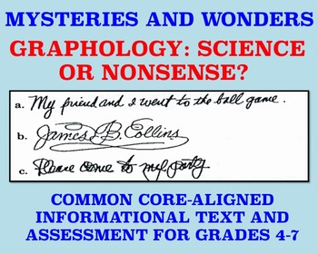 Mysteries and Wonders Passage/Assessment #9: Graphology Science or Nonsense?