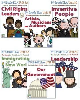 Third Grade Reading, Language, Writing Bundle, Units 1-6