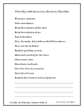 CC - First Day with Secondary Students Checklist