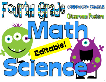 CC Fourth Grade Posters (I can...) Monsters Edition Math and Science only