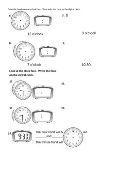 CC Grade 2 Math Graphing / Telling Time Test or Homework