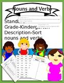 CC.L.K.1.B Kindergarten Nouns and Verbs Sort