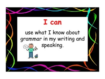 """Common Core Language """"I Can Posters & Plates"""" (Neon Lines)"""