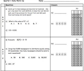 Common Core Math 6 Quarter 1 Warm-Up Bundle!! (9 weeks)