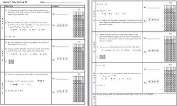 Common Core Math 6 Warm-Up Quarter 1 Week 4