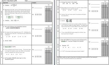 Common Core Math 6 Warm-Up Quarter 1 Week 5