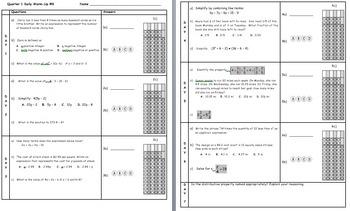 Common Core Math 6 Warm-Up Quarter 1 Week 8