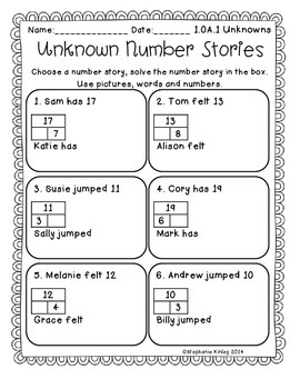 CC - Math Word Problems - April Edition  {Unknowns}