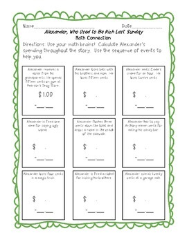 Alexander, Who Used to Be Rich Last Sunday- CC Reading Guide and Activities