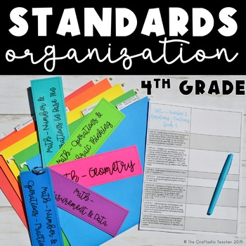 CC Standards Organization - 4th Grade - Checklists, Labels, & Rings - FREEBIE