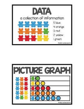 CC Vocab Cards - 1st Grade - Math - Data and Fractions