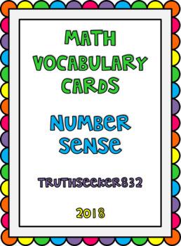 CC Vocab Cards - 1st Grade - Math - Number Sense