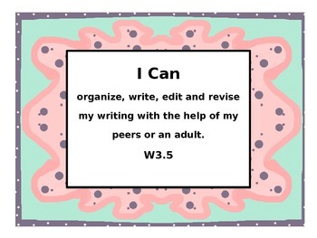 """CC Writing """"I Can"""" posters and plates"""