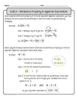 6.EE.3 & 6.EE.4: Algebraic Expressions & Equations Practice Pack
