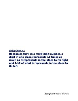 CCSS.5.NBT.1.A Place Value Positions and Place Values