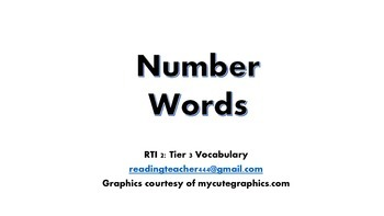 CCCS Tier 3 Vocabulary: Number Words