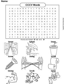 CCCV Words Worksheet/ Word Search