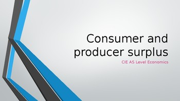 CIE A Level Economics Consumer Surplus and Producer Surplu