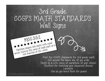 CCGPS 3rd Grade Math Standards Wall Signs