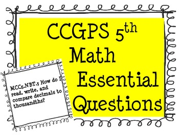 CCGPS  5th Grade MATH Essential Questions Posters