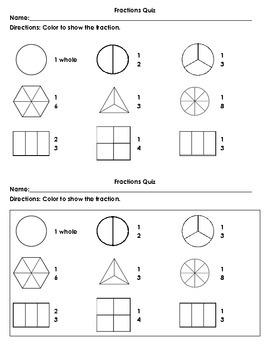 Fractions Quiz (four quizzes)