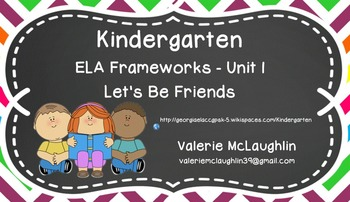 CCGPS Kindergarten Unit 1 - Let's Be Friends! ~ SmartBoard