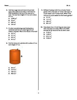 CCGPS Unit 3 Volume of Cones and Cylinders Quiz { MCC8.G.9 }