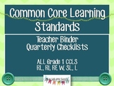 CCLS Grade 1 Quarterly Teacher Checklist and Tracker