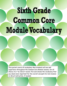 Sixth Grade Common Core Module Vocabulary