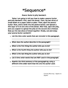 Common Core Sequence Paragraph