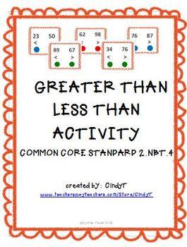 CCS 2.NBT.4  Teaching Help--Greater Than Less Than Activity