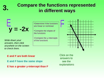 CCS - 8.F.2 - Comparing Functions Represented in Different Ways